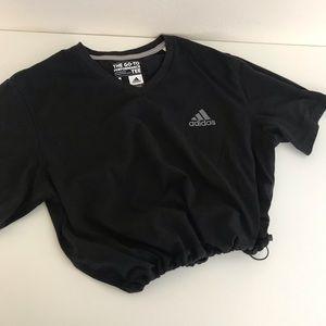 Black adidas drawstring crop tee